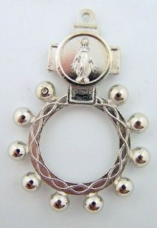 Medal Virign Mary Rosary Ring Inspirational 1 Decade Christian Gift