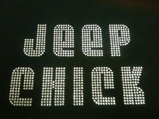 RHINESTONE BLING JEEP GIRL WOMENS T SHIRT FREE WINDOW STICKER DECAL