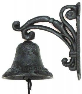 CAST IRON  Flower Vine DINNER BELL Black & Green Finish Patio DECOR