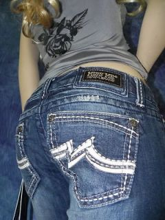 WOMEN MISS ME ROCK REVIVAL ♥LEATHER M SUNNY STRAIGHT JEANS * 30