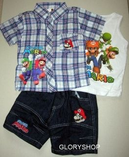 New SUPER MARIO Boys Shirt,Singlet & Shorts 3 Pcs Set Size 1,2,3,4,5,6