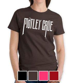 MOTLEY CRUE WOMEN LADIES BROWN MEDIUM T SHIRT ROCK PUNK POP MUSIC