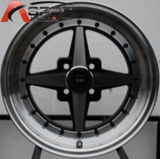 15X7 ROTA ZERO PLUS 4X100 +35 FULL ROYAL BLACK WHEEL FITS CIVIC