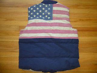 New Ralph Lauren Denim and Supply Navy USA Flag Puffer Down Vest S