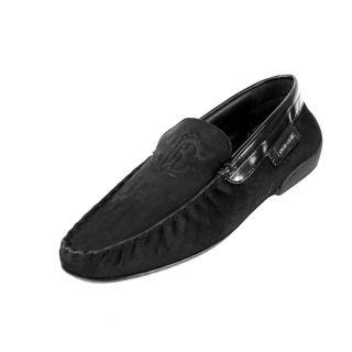Roberto Cavalli Mens Casual Shoe Black Suede Leather Devore Nero