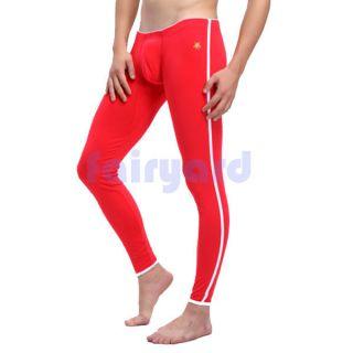 Mens Warm Underwear Long johns Pants Thermal Low Waist Underwear