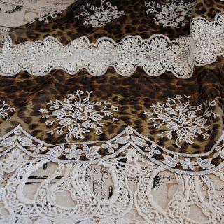 1m x 1.35m Chiffon Leopard Print Fabric with Guipure Lace Trim   Black