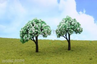 Newly listed 10pcs White Flower Model Tree TT Scale Train Sand Table