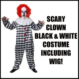 scary it evil clown outfit with wig halloween unisex fancy