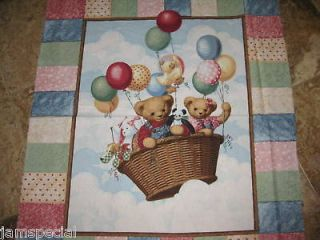 One Balloon Ride Quilt Panel Fabric Blue Jean Teddy Bear Top Patchwork