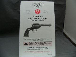 Ruger Instruction Manual for an New Bearcat Single Action Revolver