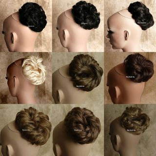 Bun Updo Hair Extension Hairpieces Chignon Wavy Culry Dish Dome