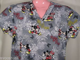 NEW Scrubs Top Mickey Minnie Mouse Love Gray SMALL Medical Nursing