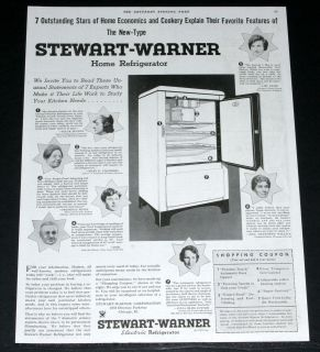 1934 OLD MAGAZINE PRINT AD, STEWART WARNER ELECTRIC HOME REFRIGERATOR
