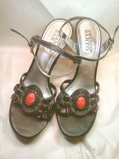 NWOT Womens 7.5 Black Franco Sarto Real Leather High Heel Sandal