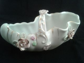 Vintage Royal Sealy Japan Bone China Flower Basket w/ Gold Accent