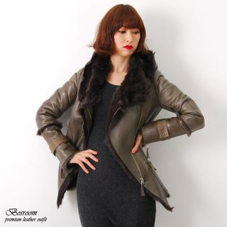New Womens Genuine shearling fur jacket leather coat with hoodie