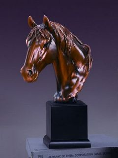 horse head bronze plated statue sculptu re figurine time left