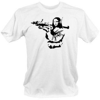 MONA LISA Banksy style COOL t shirt XL street graffiti gun weapons B