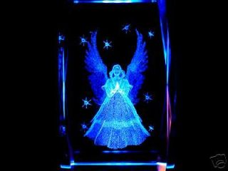 3D LASER ETCHED CRYSTAL PRAYING ANGEL STARS + Free Light BASE