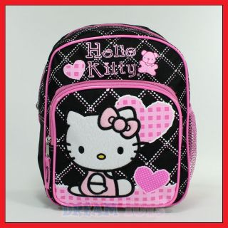 10 Hello Kitty Black Checkered Hearts Backpack   Girls Bag Toddler