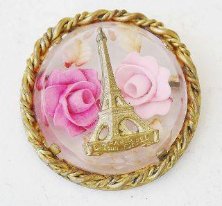 VINTAGE PARIS EIFFEL TOWER ROSE GOLD TONE BRASS PLASTIC BROOCH PIN