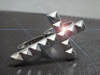 Cross Two Finger Double Ring Faceted Adjustable Silver Goth Punk Rock