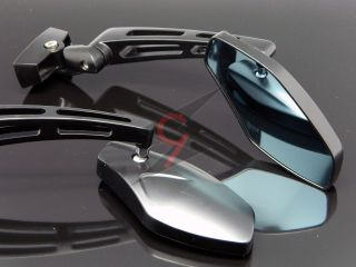 BLACK ALUMINUM SPORTS STREET BIKE SIDE REAR VIEW MIRRORS HONDA YAMAHA