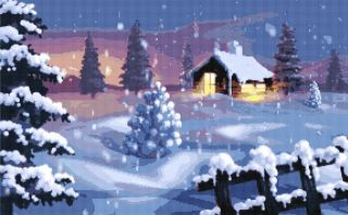 COUNTRY CHRISTMAS WINTER SCENE ~ Counted Cross Stitch Art Pattern