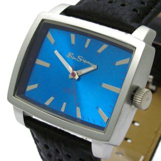 Ben Sherman Mens Square Watch with Blue Dial and Black Leather Strap