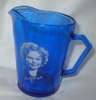 VINTAGE SHIRLEY TEMPLE COBALT BLUE MILK PITCHER FROM HAZEL ATLAS 1934