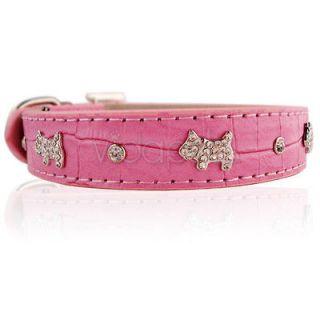 Gray Pink Leather Rhinestone Dog Collar Small Medium Large S M L