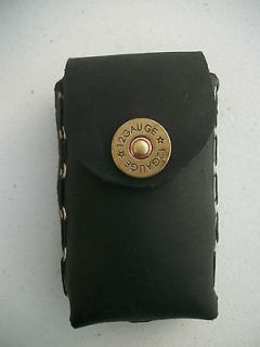 HANDMADE BLACK LEATHER CIGARETTE CASE W/12 GAUGE SHOTGUN SNAP