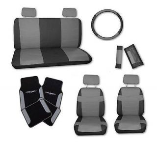 Superior Faux Leather Grey Blk Car Seat Covers Set w/ Grey Tattoo
