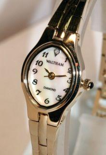 waltham diamond ladies mother of pearl watch
