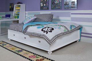 youth white full storage platform bed  1254