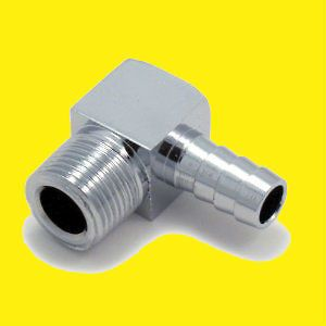 Chrome 90 Degree Chromed Aluminum Heater Hose Intake Fitting 1/2 npt