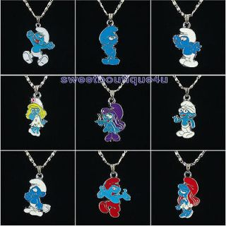 9pcs The Smurf Papa Smurf Smurfette pendant necklace for girl gift