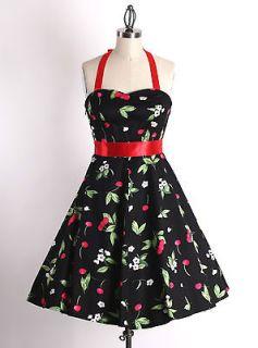 40s 50s Size S Vintage Pinup Rockabilly Retro Cherry Floral Black