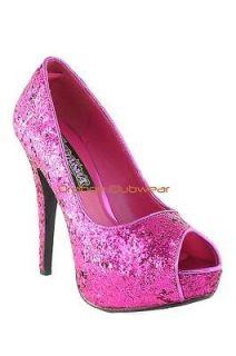 PLEASER Hot Pink Glitter Peep Toe Stiletto High Heel Dressy Party