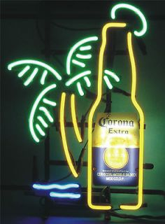 CORONA EXTRA BEER BOTTLE PALM TREE BEER BAR PUB NEON LIGHT SIGN