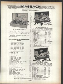 1936 ad stanley tool chests kits box 3 sizes shown