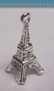 2x BRIGHT STERLING SILVER EIFFEL TOWER CHARM PENDANT 13mm (#158)