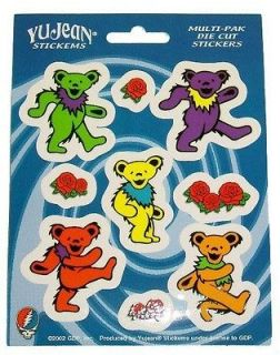 104) Grateful Dead DANCING BEAR & ROSE 9 window / bumper stickers