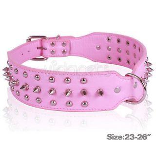 23 26 pink spiked studded leather dog collar xl for bulldog doberman
