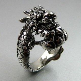 Huge Biker Black Silver Stainless Steel Dragon Mens Ring Size 13