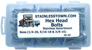 Stainless Steel Hex Bolt Assortment Kit (Sizes 1/4 20, 5/16 18 & 3/8