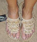 Steve Madden NEW Swindlee Womens Flip Flops Sandals Blue Embellished 7