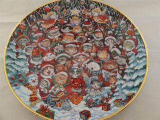 SANTA CLAWS Bill Bell Cat Christmas Collector Plate Franklin Mint