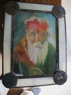 REVERSE PAINTING ON GLASS IN A HAND PUNCHED TIN FRAME BEAUTIFUL
